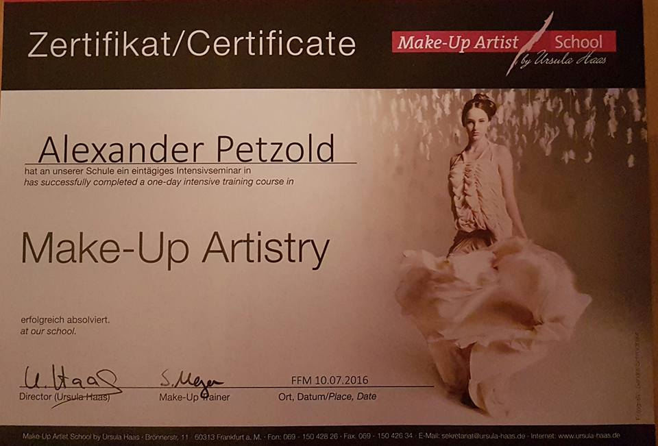 Zertifikat der Make-Up Artist School by Ursula Haas in Frankfurt am Main